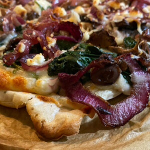 Feta Caramelized Onion Spinach Pizza